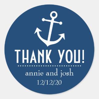 Étiquettes de Merci d'ancre de bateau (bleu-foncé) Sticker Rond