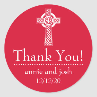 Étiquettes de Merci de croix celtique Autocollants Ronds