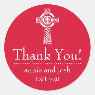 Étiquettes de Merci de croix celtique rouges blan Autocollants