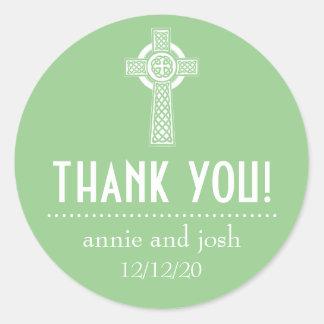 Étiquettes de Merci de croix celtique (vert Sticker Rond