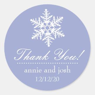 Étiquettes de Merci de flocon de neige (pourpres) Adhésif Rond