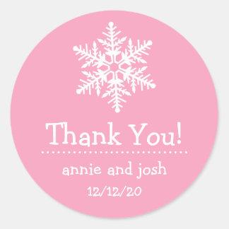 Étiquettes de Merci de flocon de neige (rose) Autocollant Rond