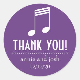 Étiquettes de Merci de note musicale Sticker Rond