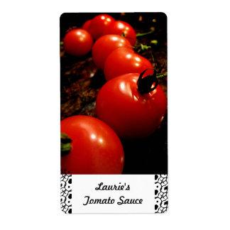 Étiquettes de mise en boîte de tomate rouge étiquettes d'expédition