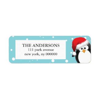 Étiquettes de pingouin de Noël Étiquettes D'adresse Retour