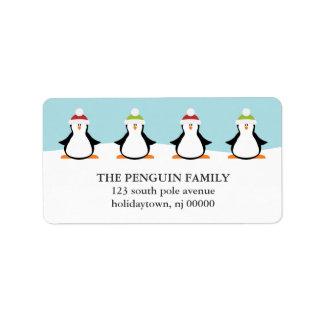Étiquettes de pingouins de Noël Étiquette D'adresse