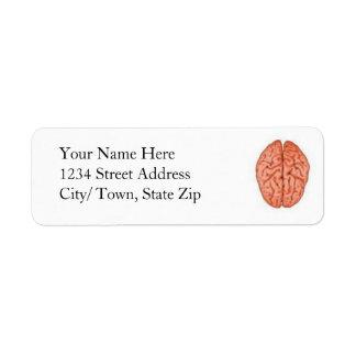 Étiquettes de retour de cerveau étiquettes d'adresse retour