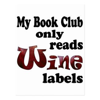 Étiquettes de vin de club de lecture carte postale