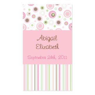 Étiquettes douces roses de faveur de point de polk cartes de visite professionnelles