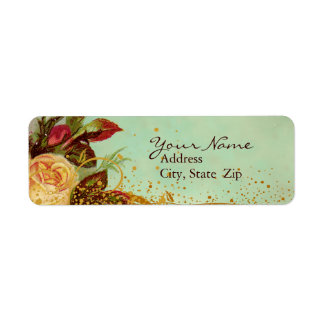 Étiquettes élégants de rose victorien étiquette d'adresse retour