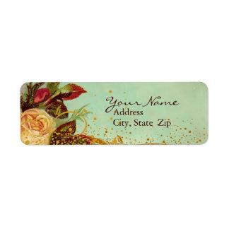 Étiquettes élégants de rose victorien étiquettes d'adresse retour