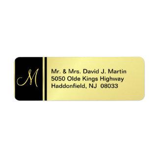 Étiquettes exécutifs de monogramme - or et noir étiquettes d'adresse retour
