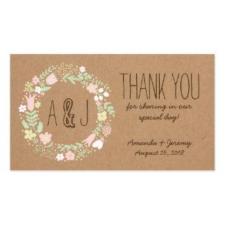 Étiquettes florales lunatiques de faveur de papier carte de visite