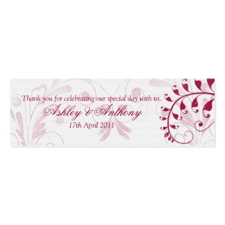 Étiquettes florales vintages rouges blanches de carte de visite petit format