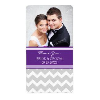 Étiquettes gris de mariage de photo de Chevron de  Étiquette D'expédition