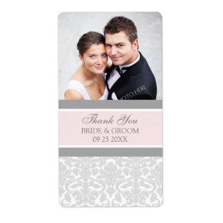 Étiquettes gris roses de mariage de photo de damas étiquette d'expédition