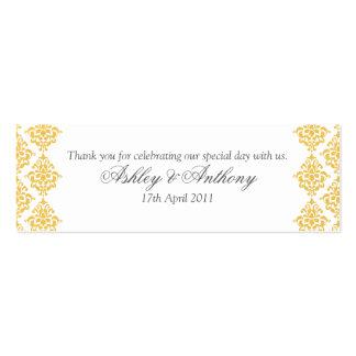 Étiquettes jaunes de faveur de mariage damassé de carte de visite petit format