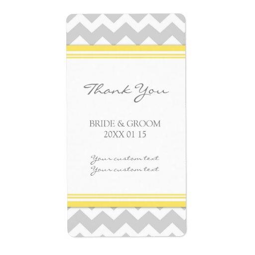 Étiquettes jaunes gris de mariage de Chevron Étiquette D'expédition