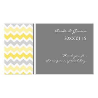Étiquettes jaunes grises de faveur de mariage de carte de visite standard