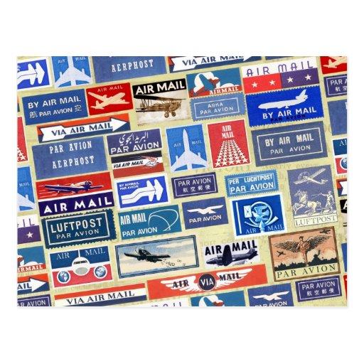 Étiquettes mondiaux de par avion cartes postales