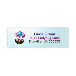 Étiquettes montants en ballon de coccinelle étiquette d'adresse retour