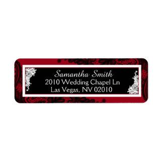 Étiquettes noirs et blancs rouges de mariage de étiquette d'adresse retour