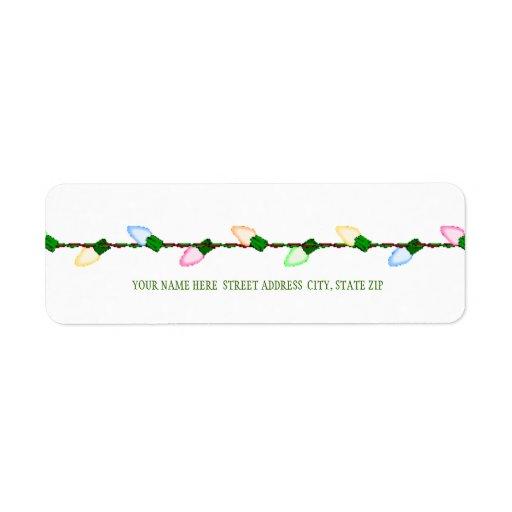 Étiquettes postales d'adresse de lumières d'arbre  étiquette d'adresse retour