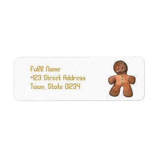Étiquettes postales de bonhomme en pain d'épice étiquette d'adresse retour