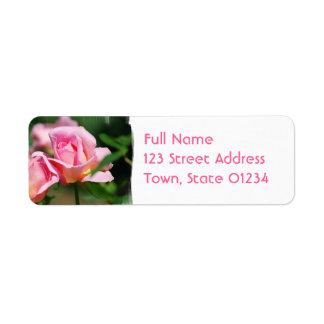 Étiquettes postales de bourgeon de rose de rose étiquette d'adresse retour
