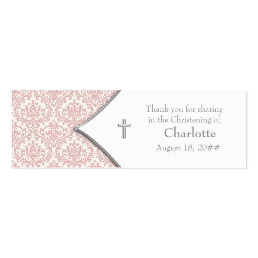 Étiquettes roses de Bomboniere de croix de damassé Cartes De Visite Professionnelles