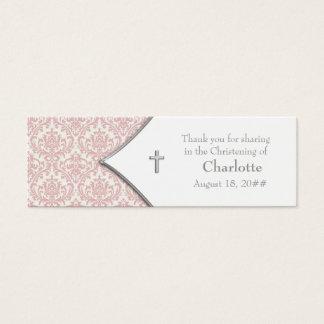 Étiquettes roses de Bomboniere de croix de damassé Mini Carte De Visite