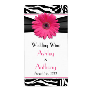 Étiquettes roses de bouteille de vin de mariage d étiquette d'expédition