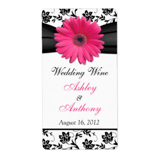 Étiquettes roses de bouteille de vin de mariage da étiquette d'expédition