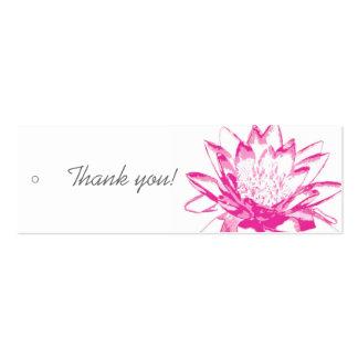Étiquettes roses de cadeau de nénuphar carte de visite petit format