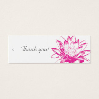 Étiquettes roses de cadeau de nénuphar mini carte de visite