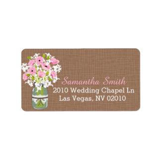 Étiquettes roses de mariage de pot de maçon de étiquette d'adresse