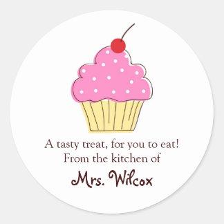Étiquettes roses de petit gâteau, de la cuisine sticker rond