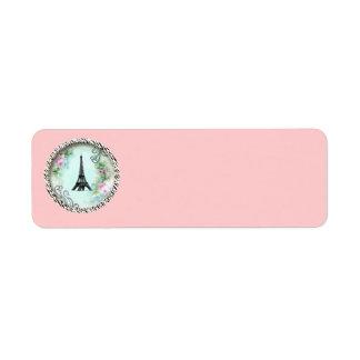 Étiquettes roses d'impression de zèbre de roses de étiquettes d'adresse retour