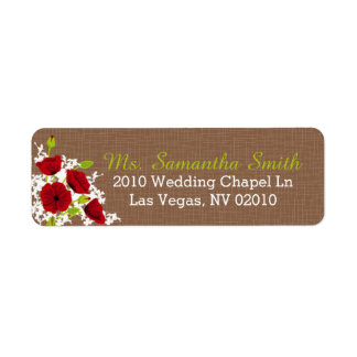 Étiquettes rouges de mariage de bouquet de pavot étiquette d'adresse retour