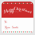 Étiquettes rouges personnalisées de cadeau de Noël Autocollant Carré