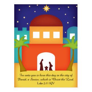 Étoile au-dessus de nativité de Noël de Bethlehem Cartes Postales
