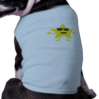 étoile avec des lunettes de soleil tee-shirt pour chien