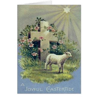 Étoile croisée chrétienne d'agneau carte de vœux