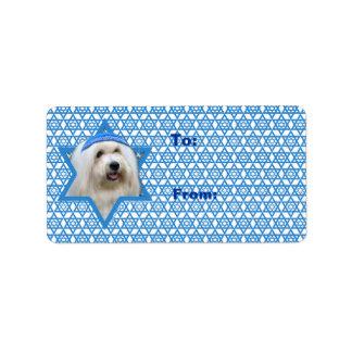 Étoile de David de Hanoukka - coton de Tulear Étiquette D'adresse