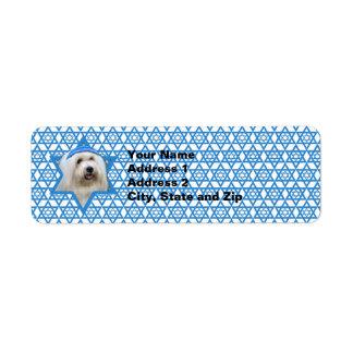 Étoile de David de Hanoukka - coton de Tulear Étiquettes D'adresse Retour