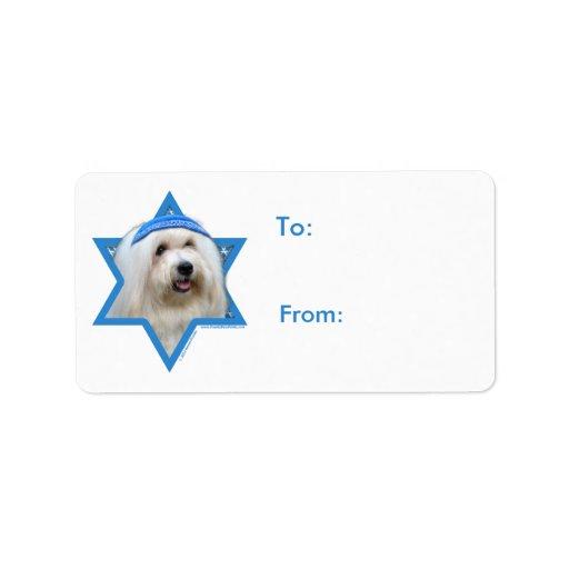 Étoile de David de Hanoukka - coton de Tulear Étiquettes D'adresse