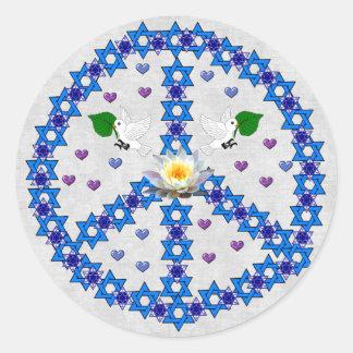 Étoile de David de paix Sticker Rond