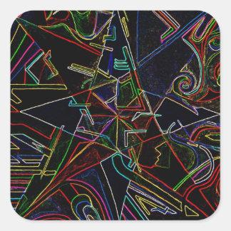 étoile de mélange de couleur sticker carré
