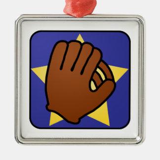 Étoile d'or de gant de base-ball de sports de ornement carré argenté