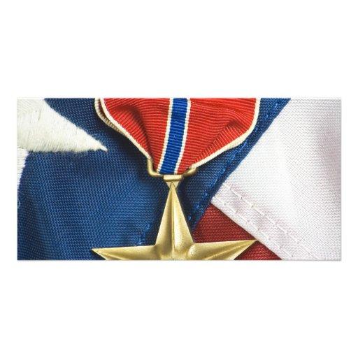 Étoile en bronze sur le drapeau américain photocartes